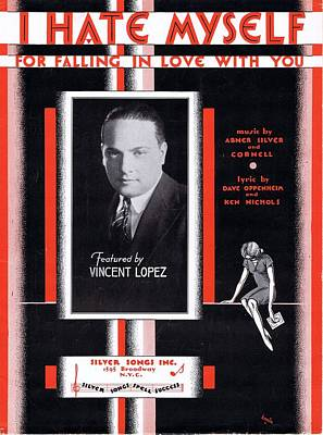 Old Sheet Music Photograph - I Hate Myself For Falling In Love With You by Mel Thompson