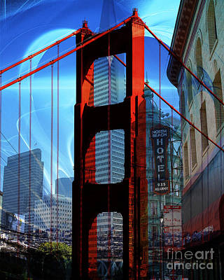 I Left My Heart In San Francisco . Golden Gate Bridge . Transamerica Pyramid . North Beach Art Print by Wingsdomain Art and Photography
