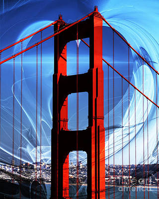I Left My Heart In San Francisco . Golden Gate Bridge Art Print by Wingsdomain Art and Photography