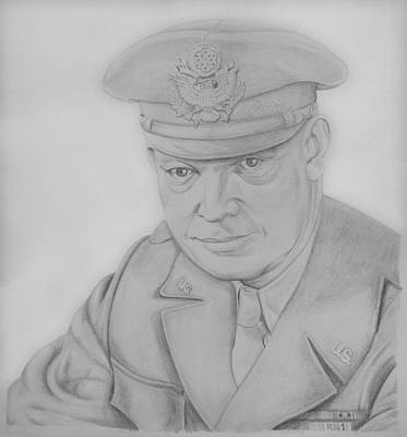Pencil Portrait Drawing - I Like Ike by Daniel Young