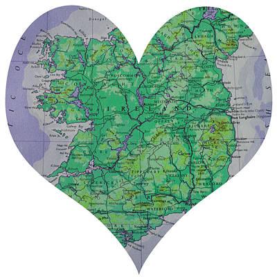 I Love Ireland Heart Map Print by Georgia Fowler