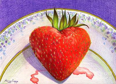 Strawberry Drawing - I Love You Berry Much by Nancy Cupp