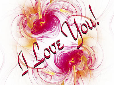 Digital Art - I Love You Card 1 by Andee Design