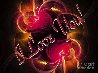 Digital Art - I Love You Card 2 by Andee Design