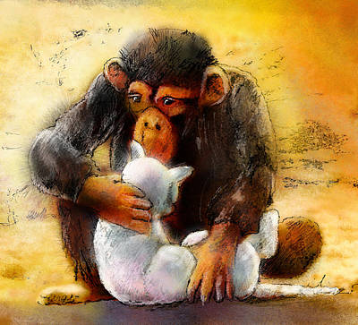 Chimpanzee Mixed Media - I Love You So Much Babe by Miki De Goodaboom