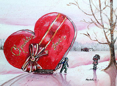 Red Barn In Winter Painting - I Love You Thiiis Much by Shana Rowe Jackson