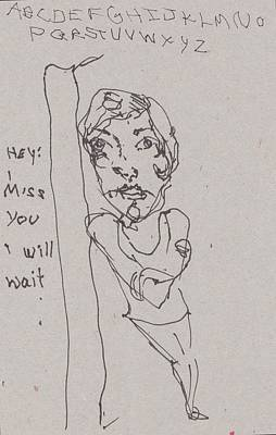 Primitive Drawing - I Miss You by Catherine Carr