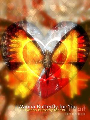Heart Images Mixed Media - I Wanna Butterfly For You by Fania Simon
