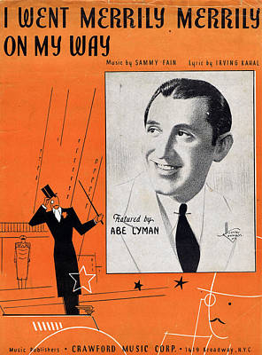 Old Sheet Music Photograph - I Went Merrily Merrily On My Way by Mel Thompson