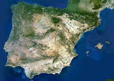 Iberian Peninsula, Satellite Image Art Print by Planetobserver