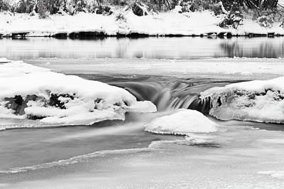 Ice And Snow On River Art Print by Fototstation Schoenau Juergen Olbricht