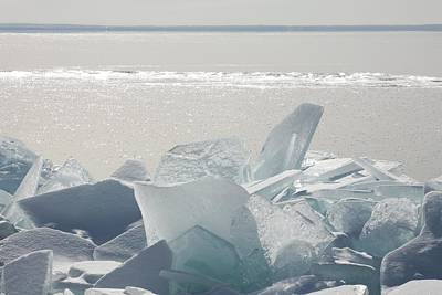 Ice Chunks On The Shores Of Lake Art Print by Susan Dykstra