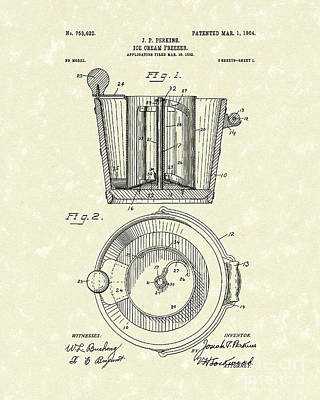 1904 Drawing - Ice Cream Freezer 1904 Patent Art by Prior Art Design