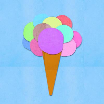 Labelled Mixed Media - Ice Cream On Hand Made Paper by Setsiri Silapasuwanchai