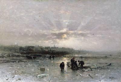 Gloom Painting - Ice Fishing by Ludwig Munthe