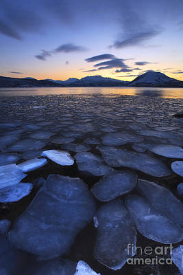 Sunset In Norway Photograph - Ice Flakes Drifting Towards by Arild Heitmann