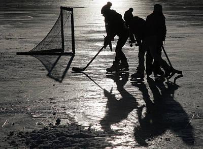 Kids Playing Hockey Photograph - Ice Hockey by Edward Betz