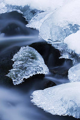Photograph - Ice Patches In Stream, Bavarian Forest by Heike Odermatt