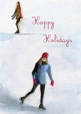 Christmas Greeting Painting - Ice Skaters Holiday Card by Beverly Brown Prints