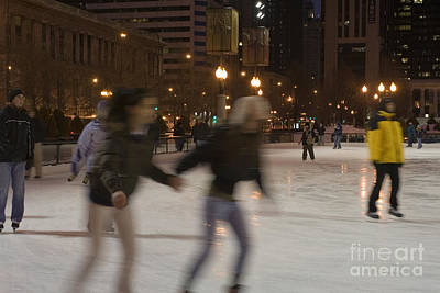 Chicago Photograph - Ice Skating At Millennium Park In Chicago At Night by Christopher Purcell