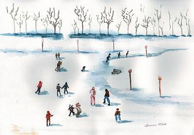 Painting - Ice Skating On The Pond by Sharon Mick