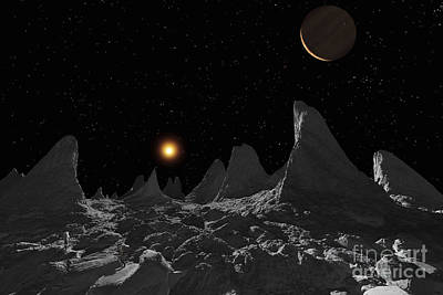 Spire Digital Art - Ice Spires On Jupiters Large Moon by Ron Miller