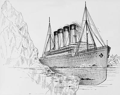 Iceberg Tearing A Long Gash In Hull Art Print by Everett