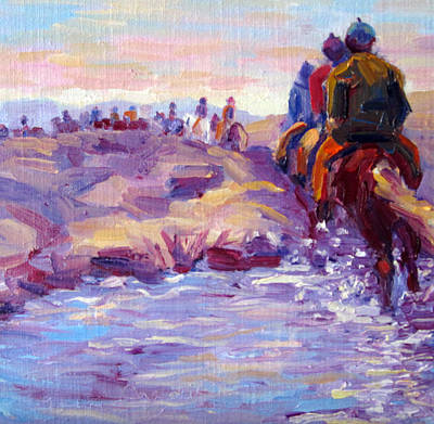 Icelandic Horse Painting - Icelandic Horse Trail Ride by Terry  Chacon