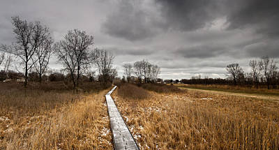 Grey Clouds Photograph - Icy Boardwalk by Cale Best