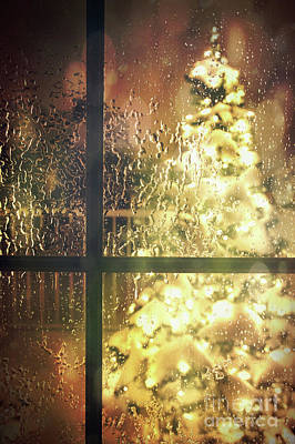 Icy Window With Holiday Tree Full Of Lights Art Print by Sandra Cunningham