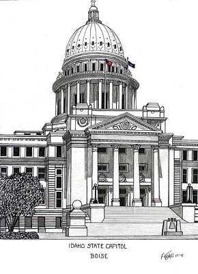 Drawing - Idaho State Capitol Building by Frederic Kohli