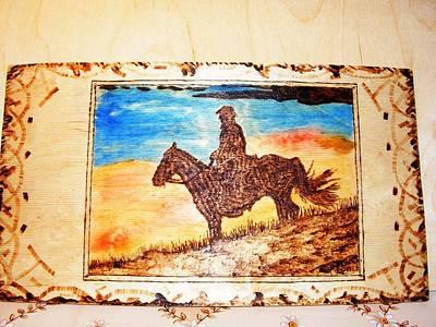 Pyrography Pyrography - Idaho Sunset-horse And Horseman Wood Pyrography by Egri George-Christian