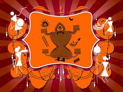 Indian Tribal Art Painting - Idol Worship by Subhash Limaye