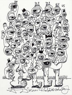 Abstract Expressionism Drawing - If Everbody Are Kings Then Nobody Loses by Robert Wolverton Jr