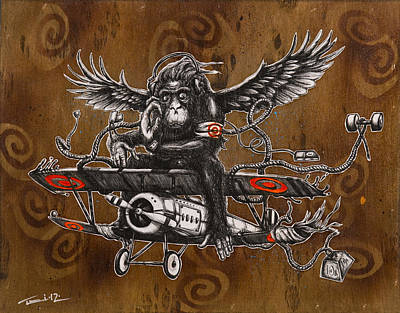 Chimpanzee Drawing - If You Want To Fly Let Go Of The Things Weighing You Down by Tai Taeoalii