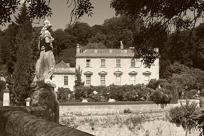 Photograph - Iford Manor And Statue Sepia by Ed Lukas
