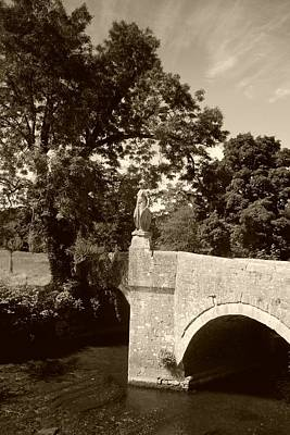 Photograph - Iford Manor Statue Sepia by Ed Lukas