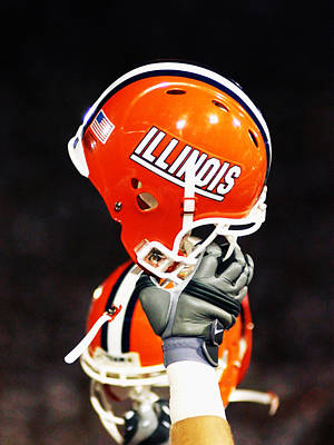 Sports Framed Photograph - Illinois Football Helmet  by University of Illinois