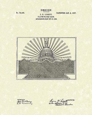 Illuminated Drawing - Illuminated Sign Design 1907 Patent Art by Prior Art Design