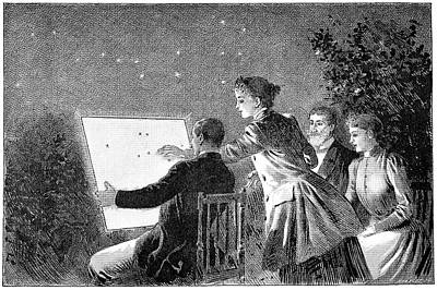 Amateur Astronomy Photograph - Illuminated Star Chart, 19th Century by