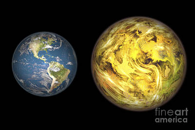 Terrestrial Sphere Digital Art - Illustration Comparing The Size by Walter Myers