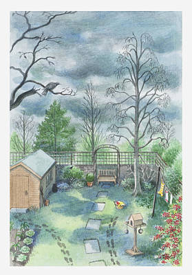 Illustration Of A Dark Clouds Over A Garden Art Print
