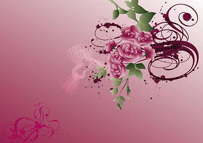 Purple Flowers Digital Art - Illustration Of A Flower Bouquet by Stock4b-rf
