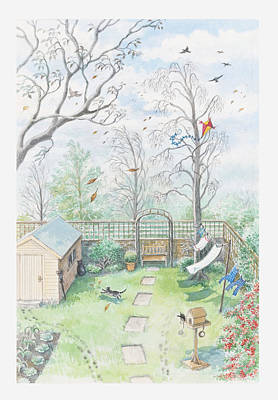 Illustration Of A Garden As A Storm Is Developing Art Print by Dorling Kindersley