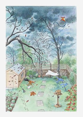Y120907 Digital Art - Illustration Of A Garden During A Storm by Dorling Kindersley