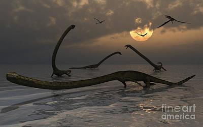 Aquatic Digital Art - Illustration Of A Herd Of Tanystropheus by Mark Stevenson
