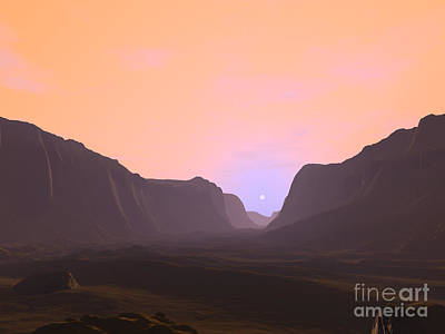 Digital Art - Illustration Of A Martian Sunrise by Walter Myers
