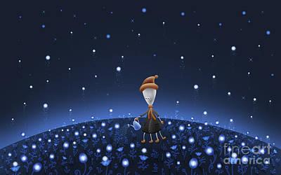 Cartoon Alien Digital Art - Illustration Of A Martian Watering by Vlad Gerasimov