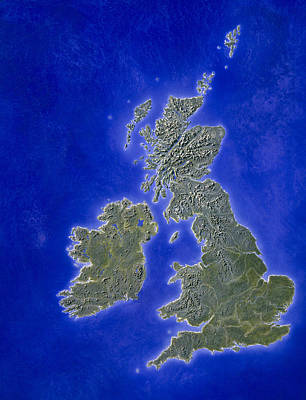 Illustration Of A Relief Map Of The British Isles Art Print