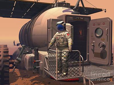 Eva Digital Art - Illustration Of An Astronaut Leaving by Walter Myers